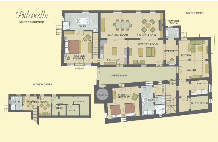 Pulcinello Main and Lower Level Floor Plan